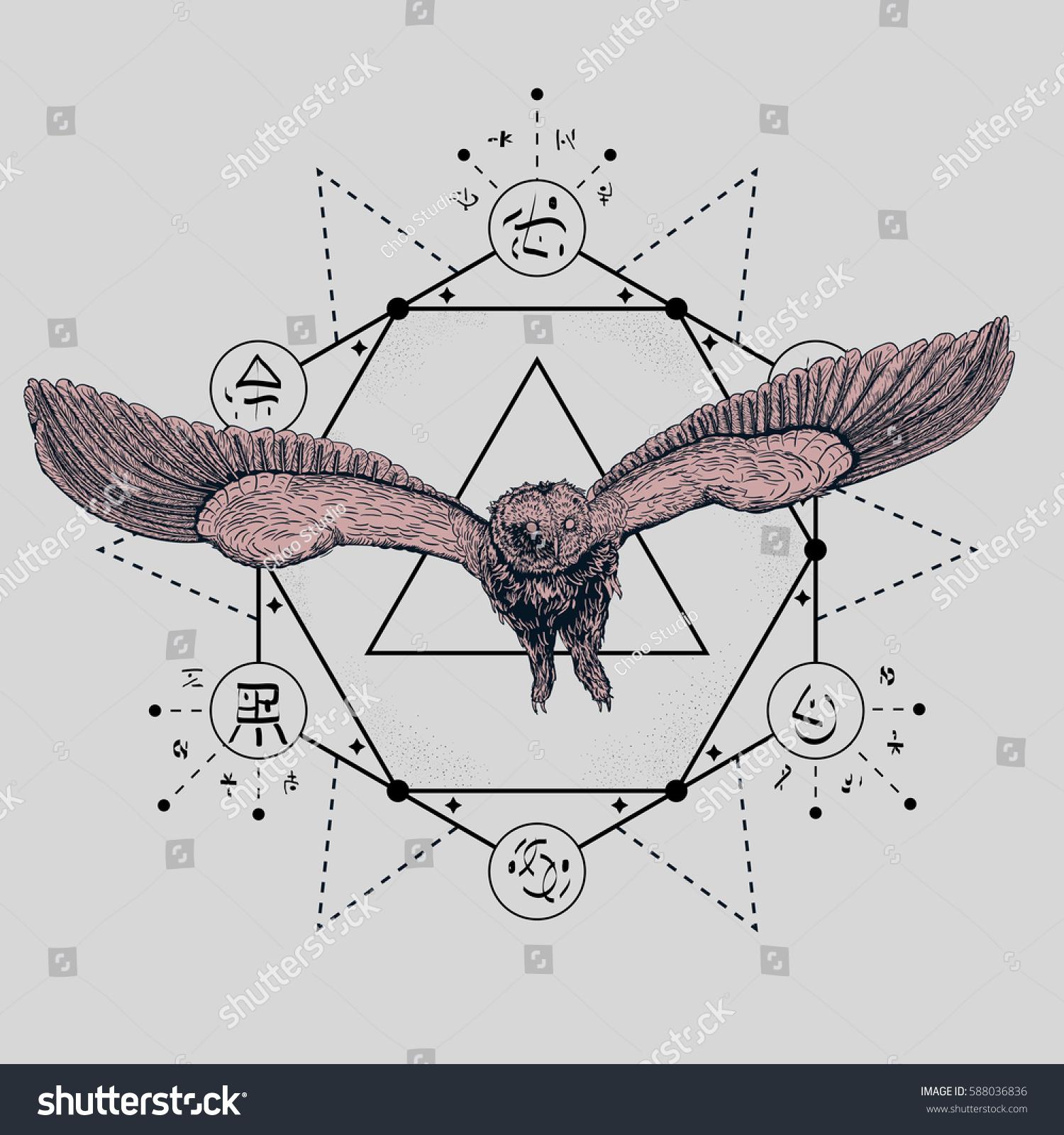 Owl Tattoo Drawing Geometric Forms Symbols Stock Vektorgrafik