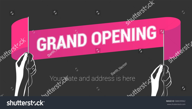 Grand Opening Vector Illustration Wavy Flag Stock Vector 588039962 ...