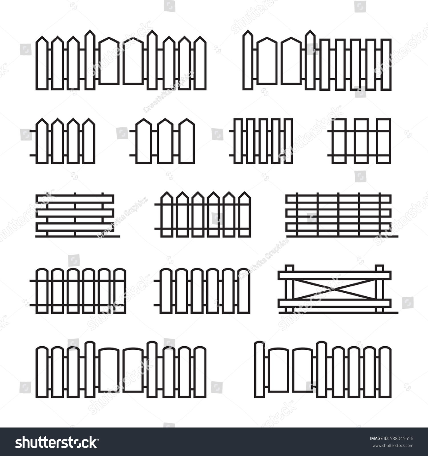 Fences Flat Line Icons Set Linear Stock Vector Royalty Free