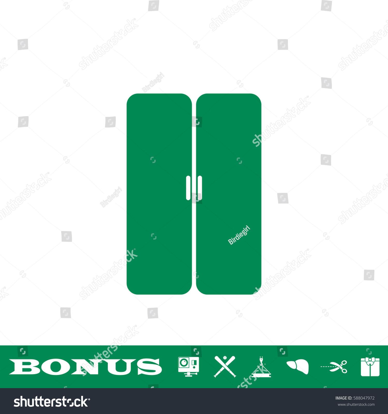 Double Door Icon Flat Green Pictogram Stock Vector 588047972