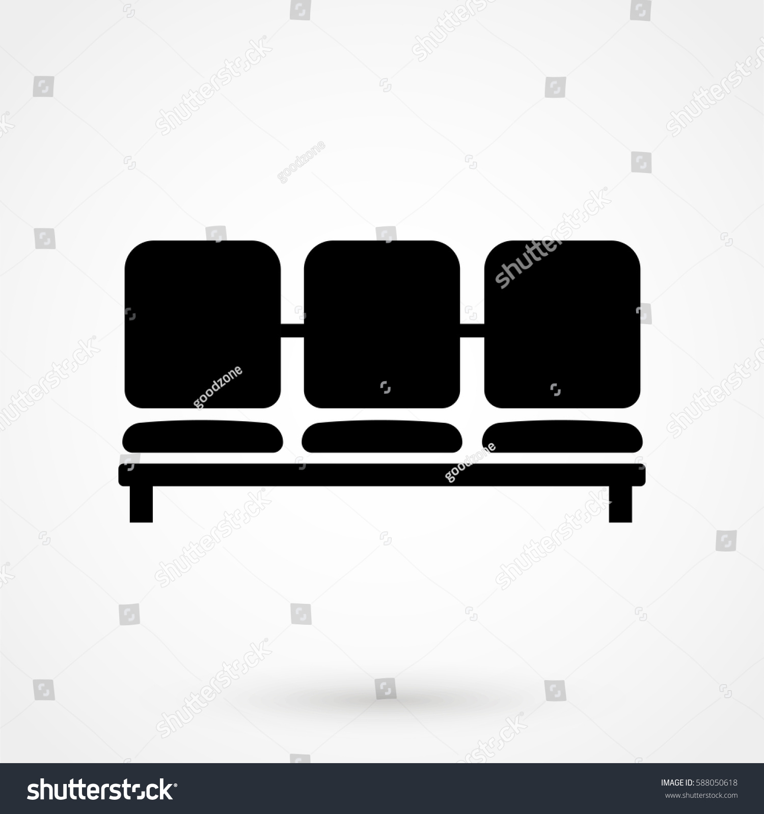 Airport Seat Vector Icon Waiting Room Stock Vector