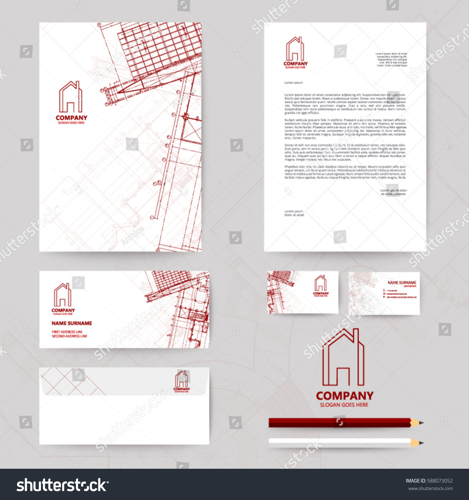 Corporate identity template design blueprint background vectores en corporate identity template design with blueprint background business realestate malvernweather Gallery