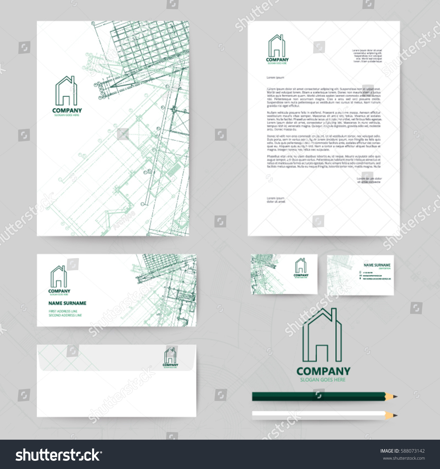 Corporate identity template design blueprint background stock vector corporate identity template design with blueprint background business realestate malvernweather Images