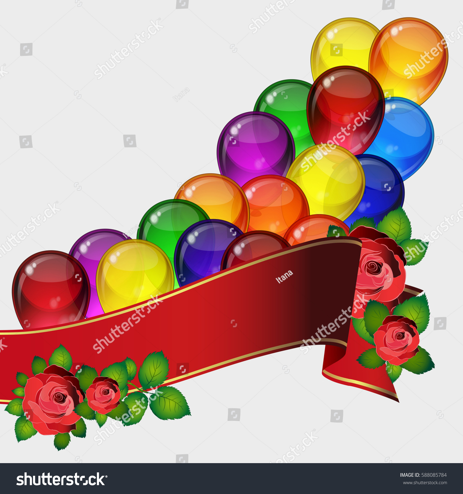 Birthday Party Background Colorful Festive Balloons Stock