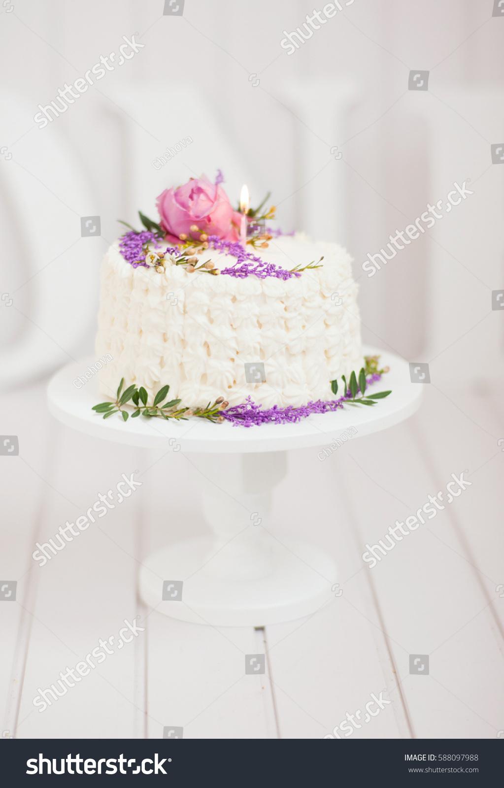 Beautiful White Cream Cake Flowers Candle Stock Photo Edit Now