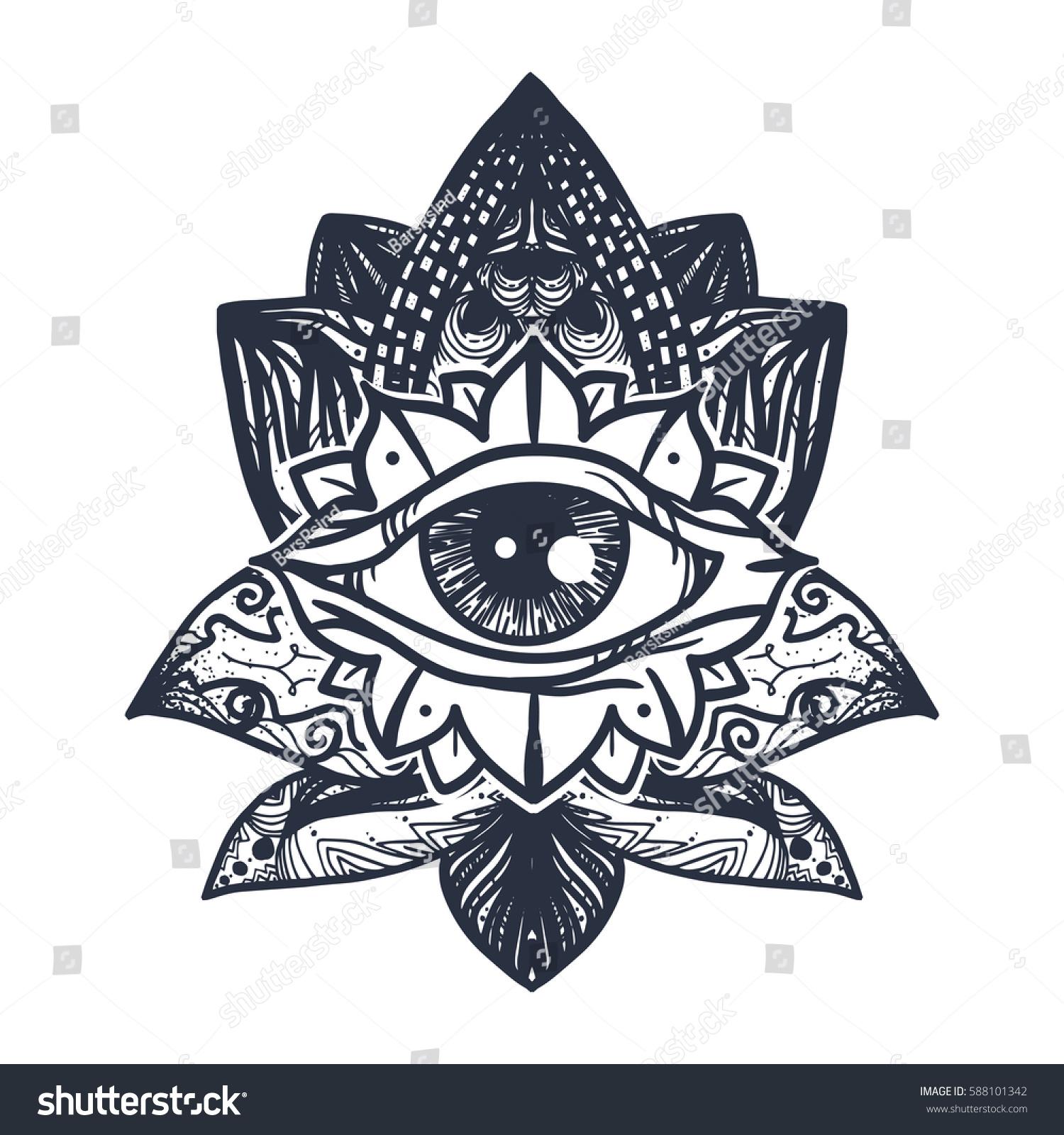 Vintage all seeing eye mandala lotus stock vector 588101342 vintage all seeing eye in mandala lotus providence magic symbol for print tattoo buycottarizona
