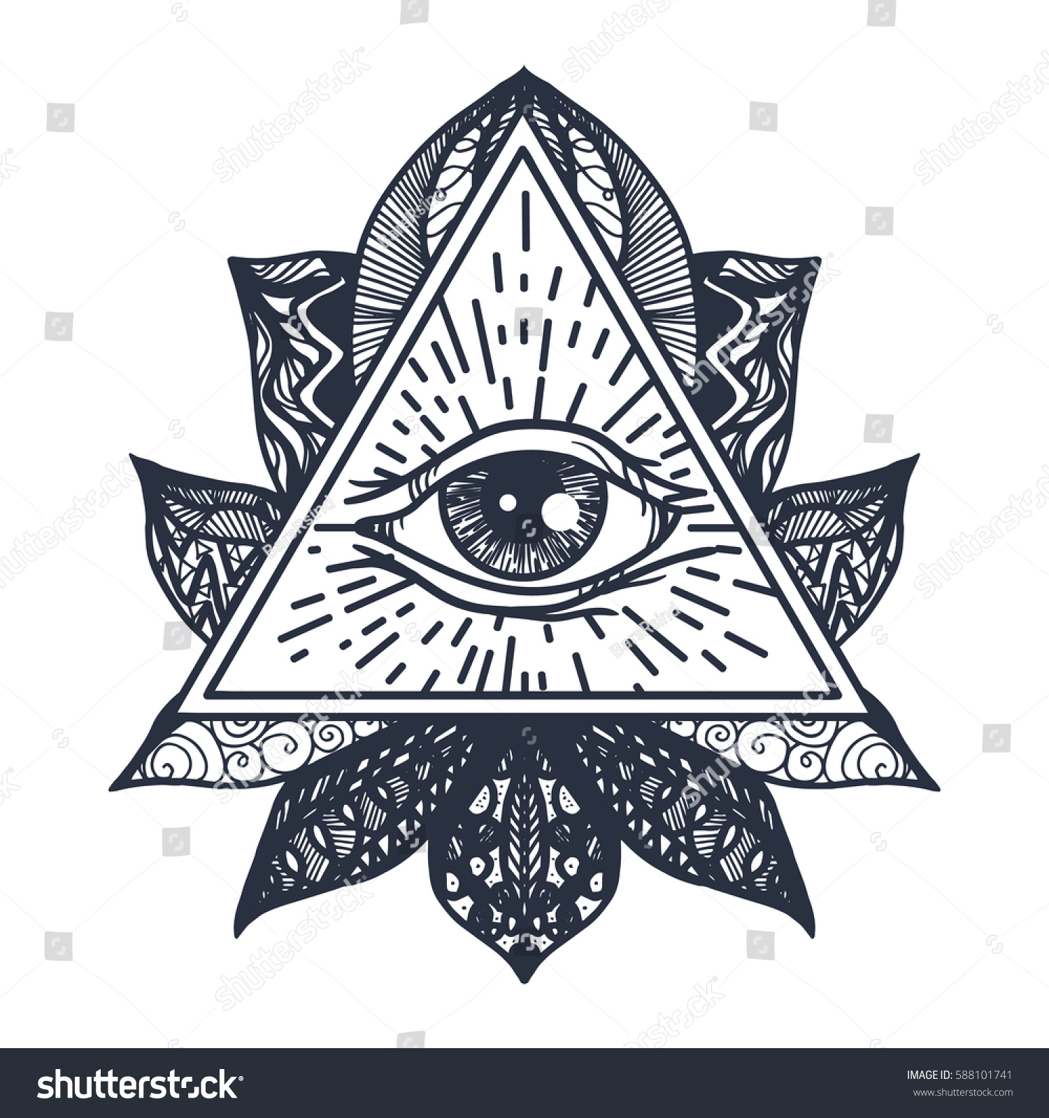 Royalty free vintage all seeing eye in mandala lotus 588101741 providence magic symbol for print tattoo coloring bookfabric t shirt cloth in boho style astrology occult esoteric insight sign with eye buycottarizona