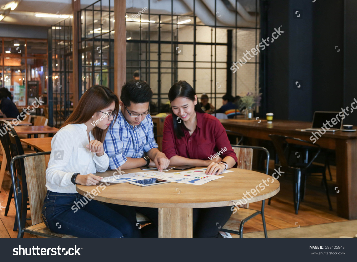 Group Casual Business Meeting Discuss Ideas Stock Photo