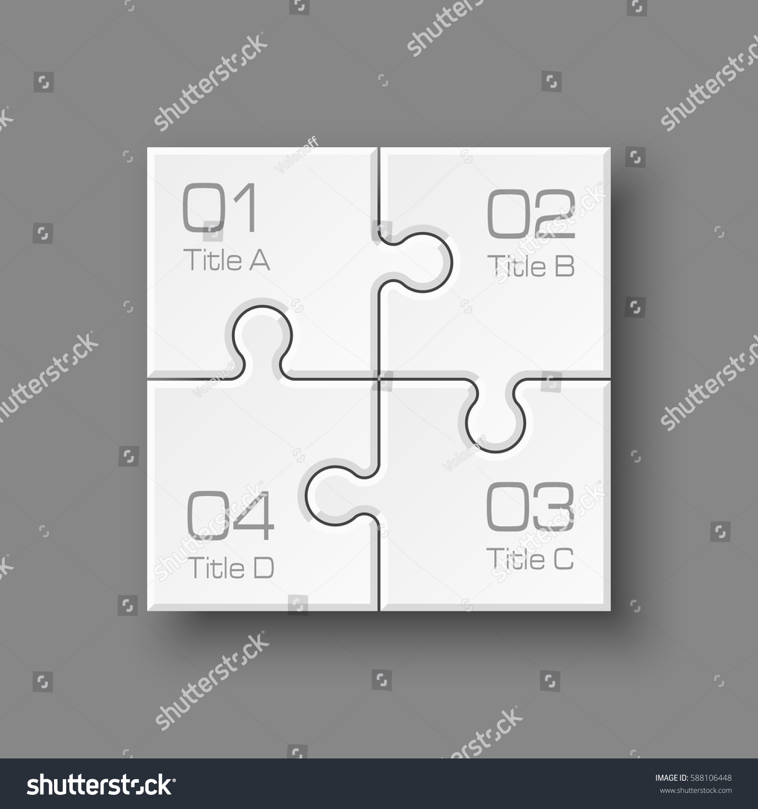 stock vector white puzzle four piece business presentation square infograph circle step process diagram card 588106448 white puzzle four piece business presentation stock vector (royalty