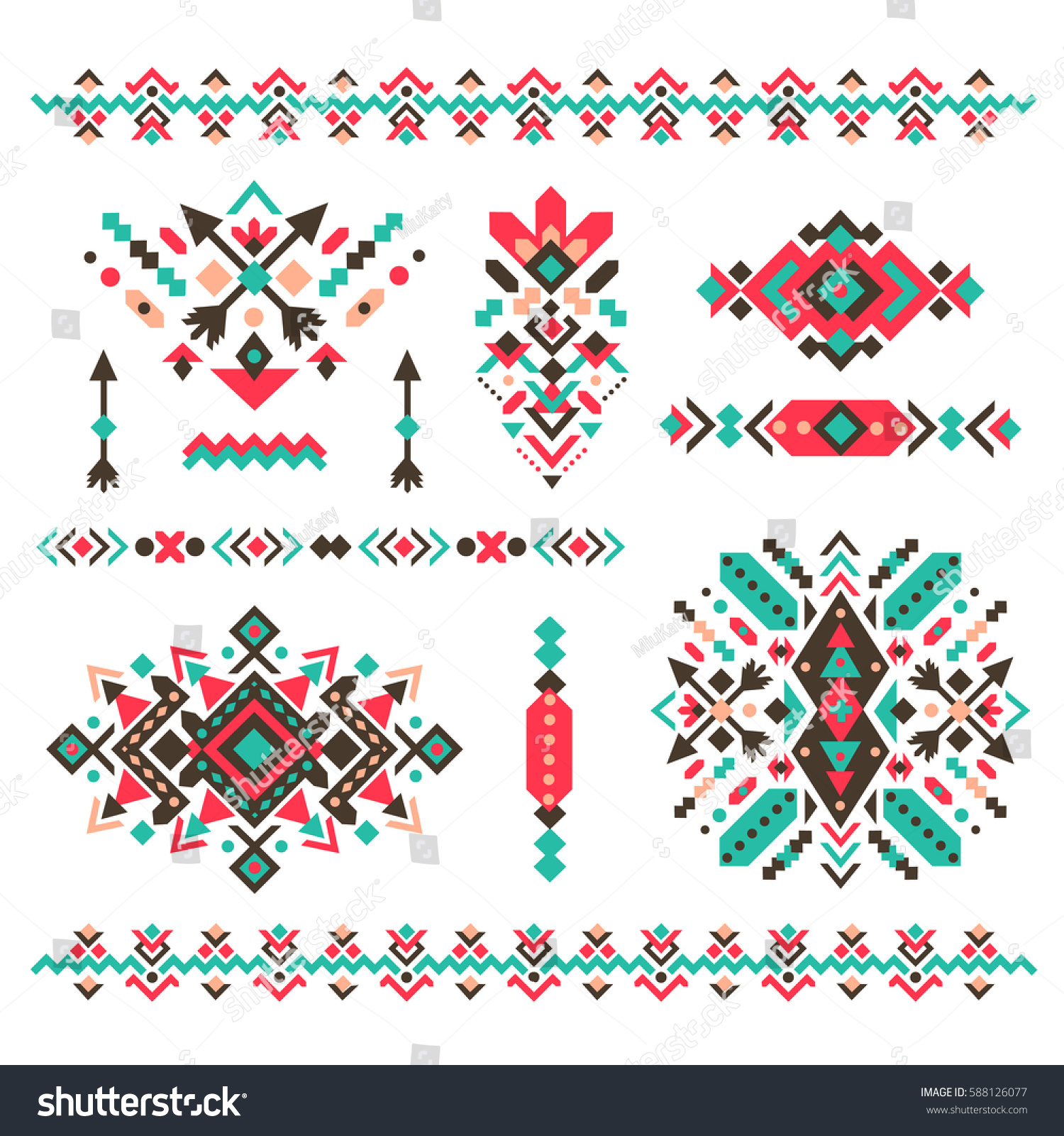 Set fashion mexican navajo aztec native stock vector for American indian design and decoration