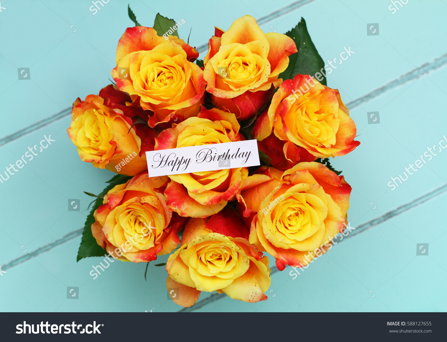 Happy Birthday Card Bouquet Roses Sprinkled Stock Photo (Safe to Use ...