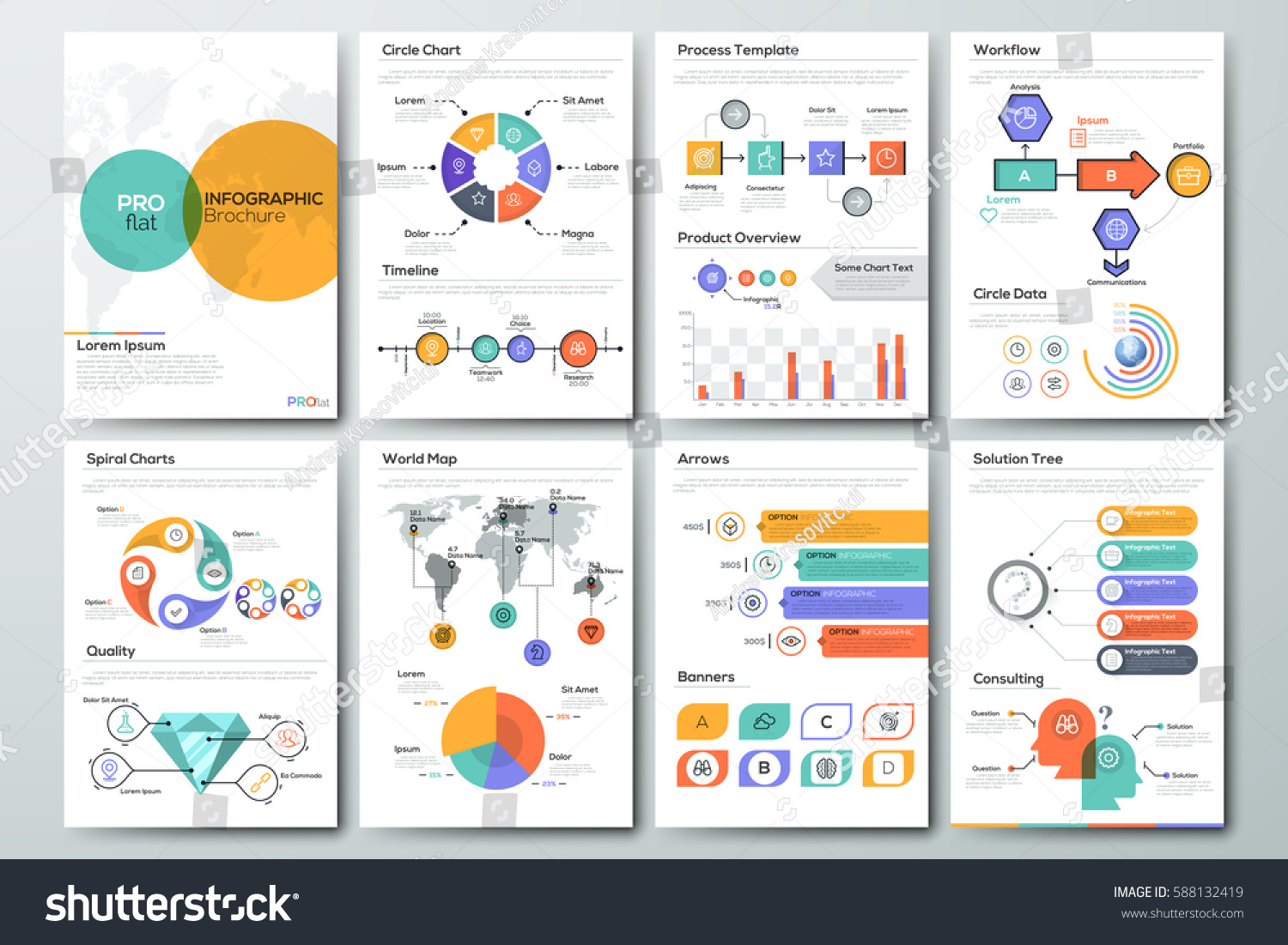 Drawing diagrams in pages - Modern Infographic Brochure Template Pages With Diagram Graph Chart And Workflow Elements