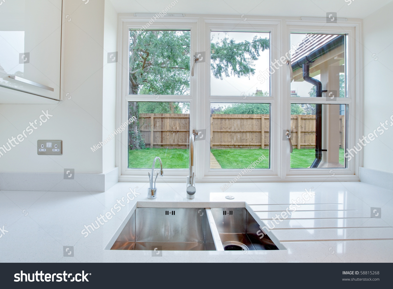 Kitchen Window Garden Window View Overlooking Garden Kitchen Sink Stock Photo 58815268