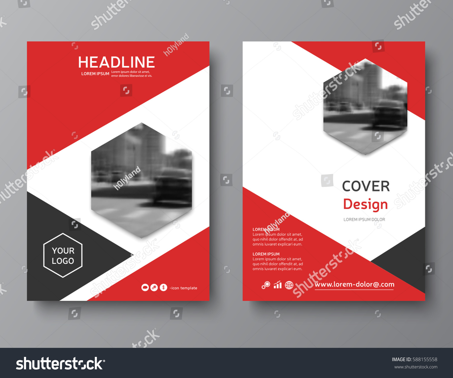 red annual report cover modern brochure stock vector. Black Bedroom Furniture Sets. Home Design Ideas