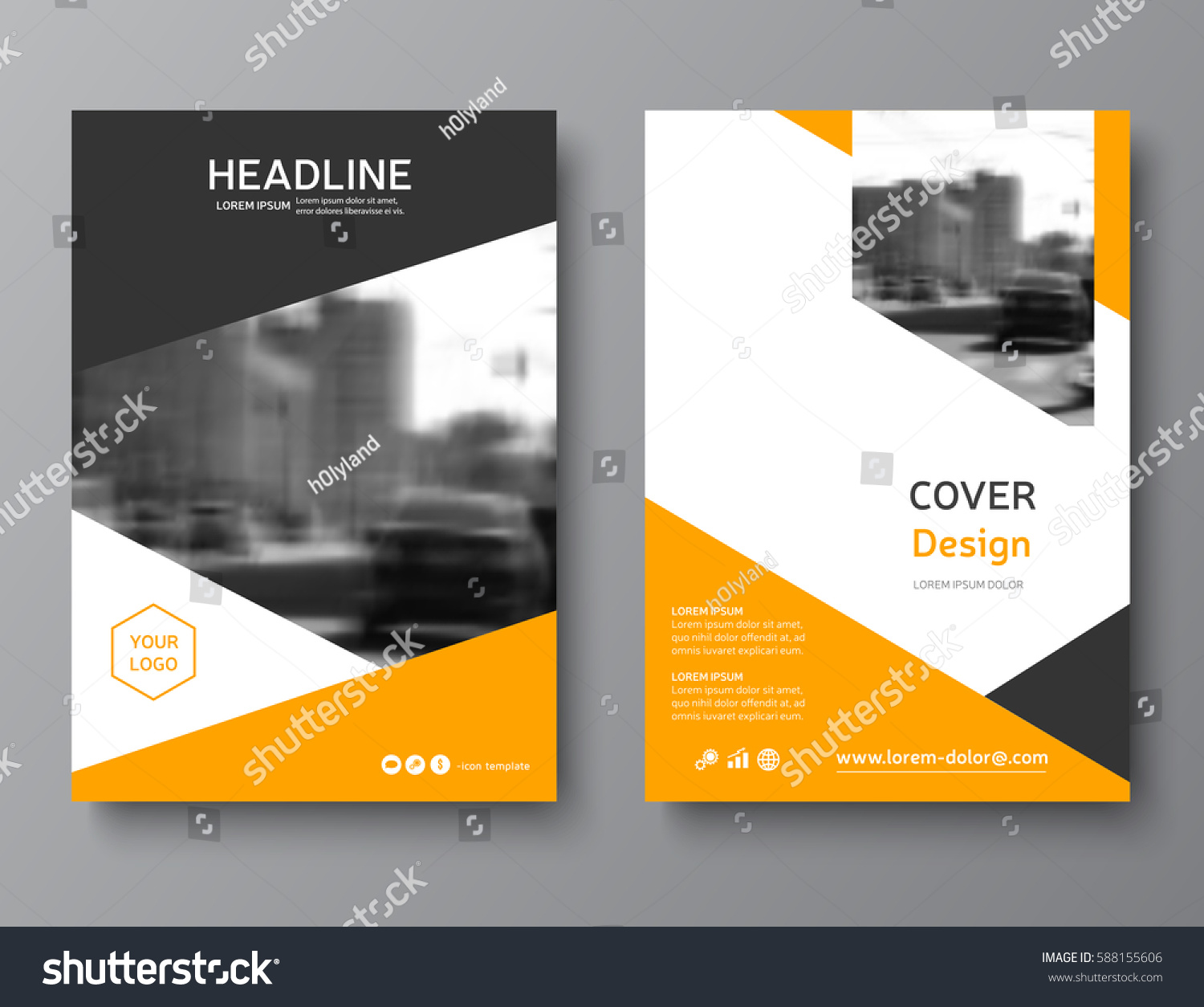 Color Annual Report Cover Brochure Template Stock Vector