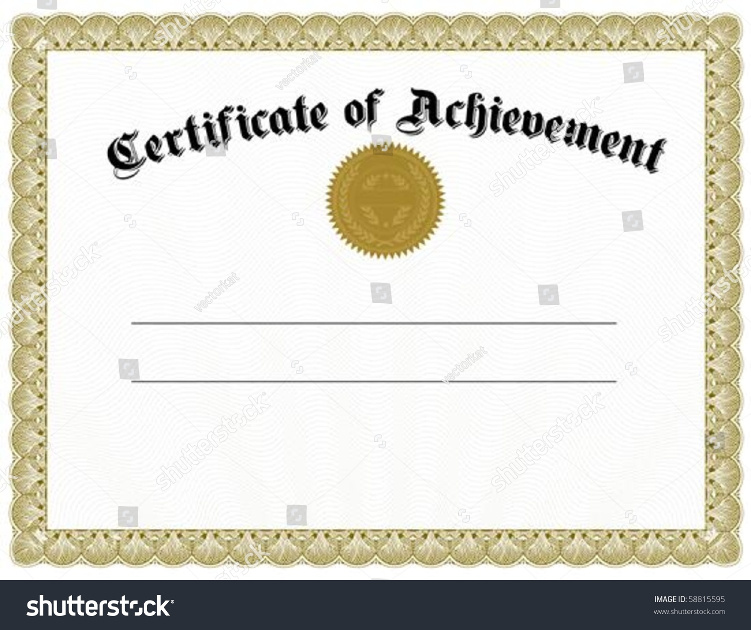 Vector certificate template gold seal easy stock vector for Certificate of attainment template