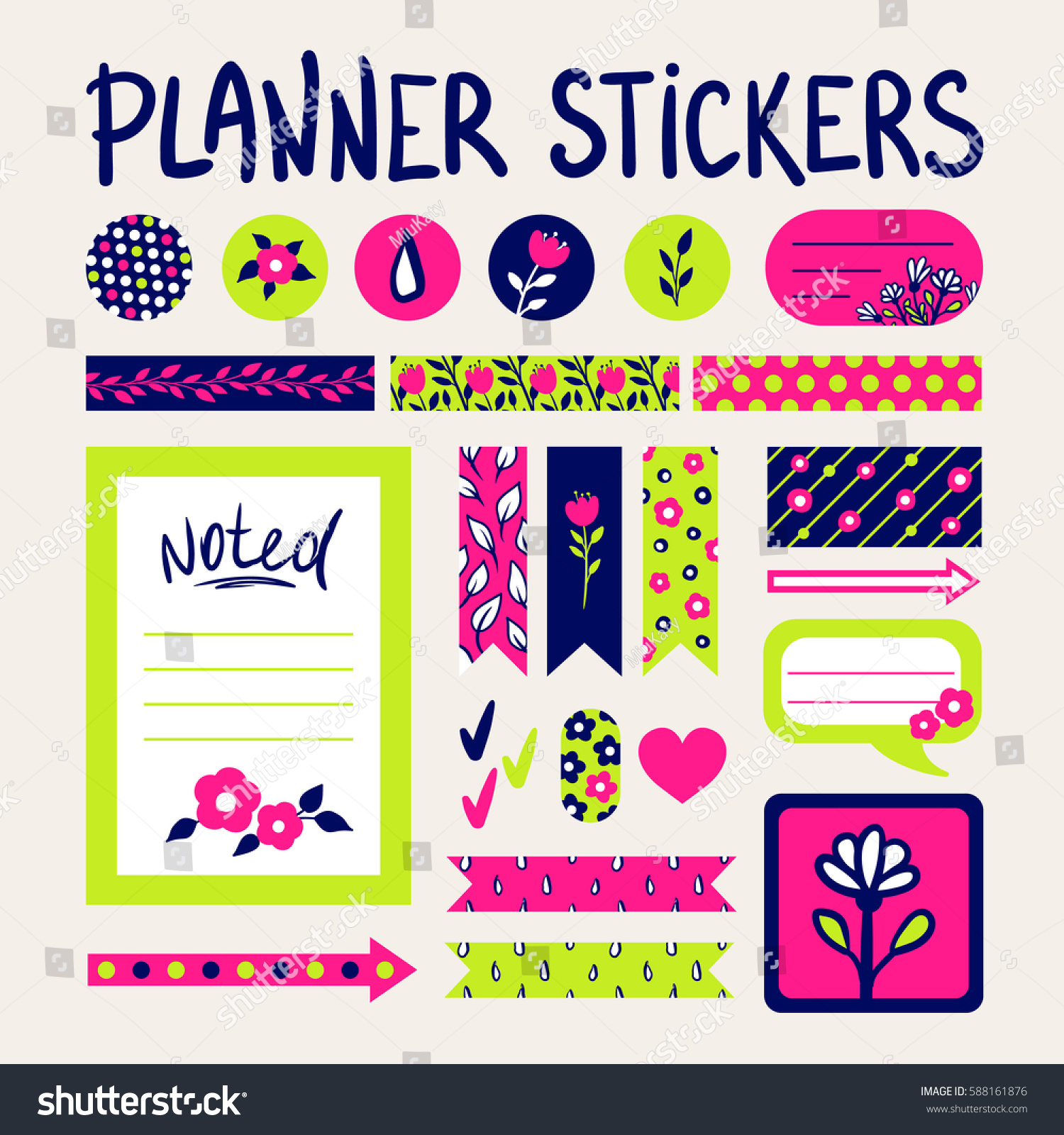 Cute signs symbols organized you planner stock vector 588161876 cute signs and symbols for organized you planner vector template with flowers and leaves patterns buycottarizona Images