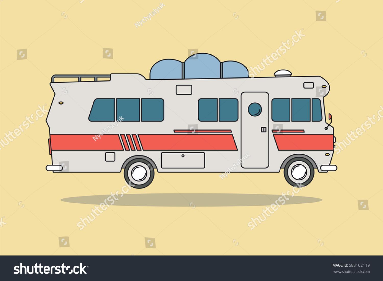 vintage camping car bus all family stock vector 588162119 shutterstock. Black Bedroom Furniture Sets. Home Design Ideas