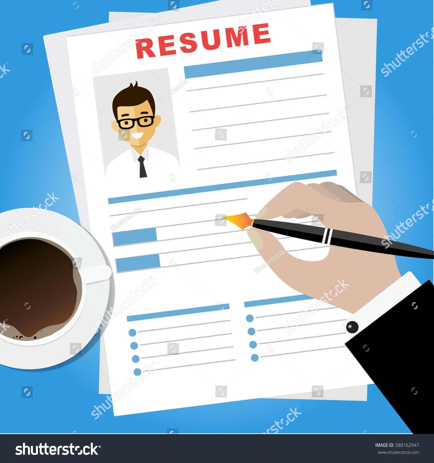 Resume Writing Concept. Woman Writing Business Resume With A Pen.  Assessment Of The Applicant  Resume Writing Business