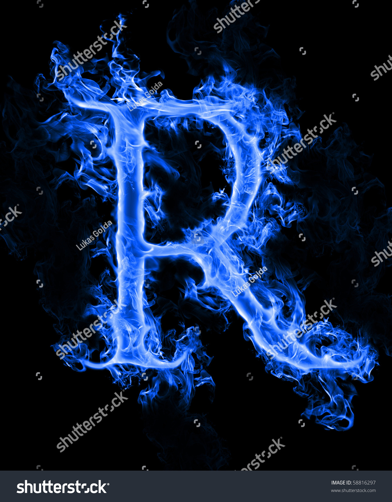 "Blue Smoke Letter ""R"" Stock Photo 58816297 : Shutterstock"