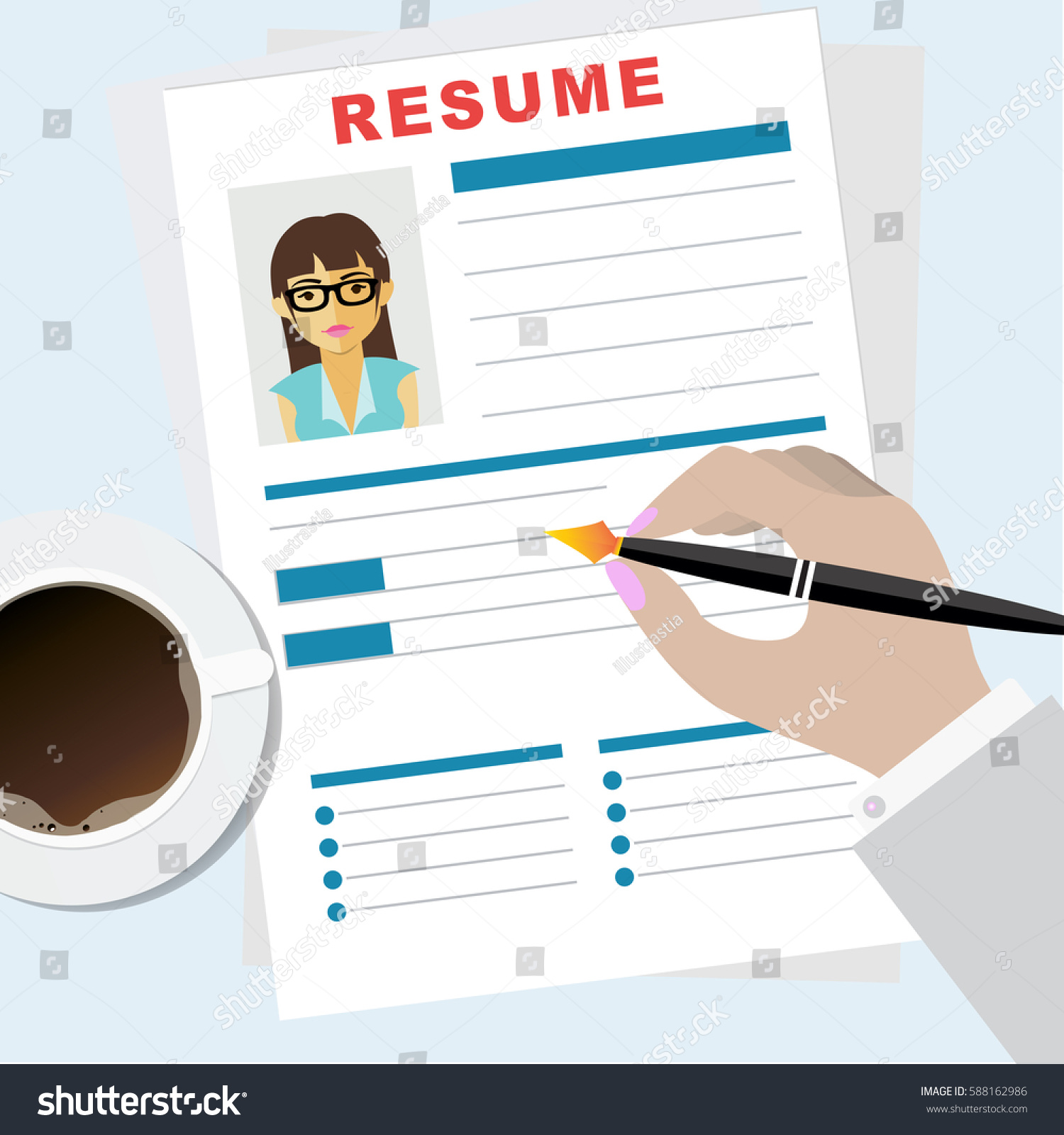 resume writing concept man writing business stock vector 588162986