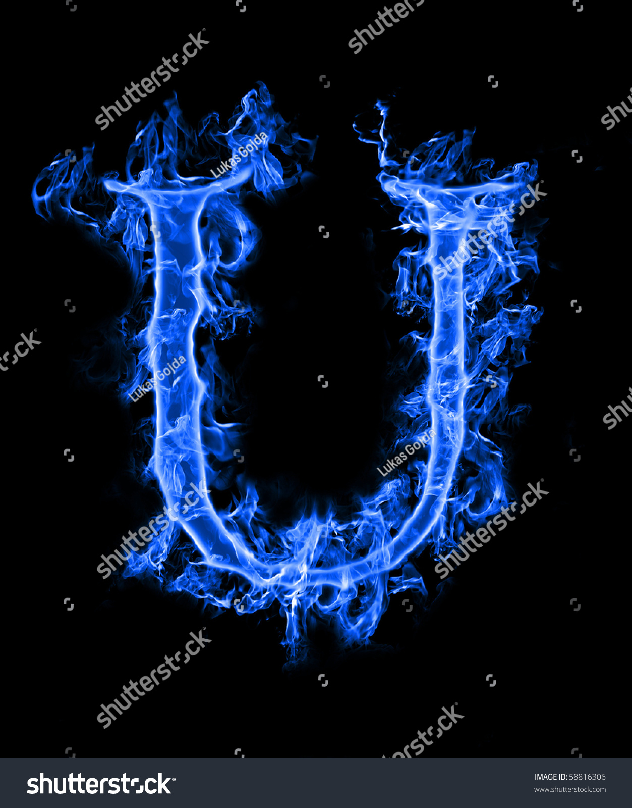 Blue Smoke Letter U Stock Photo 58816306 - Shutterstock