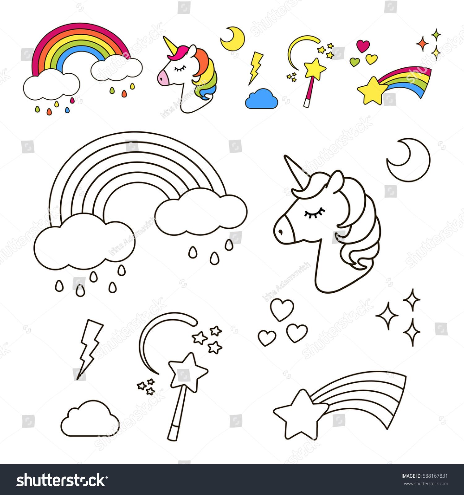 stickers set unicorn rainbow star cloud stock vector 588167831