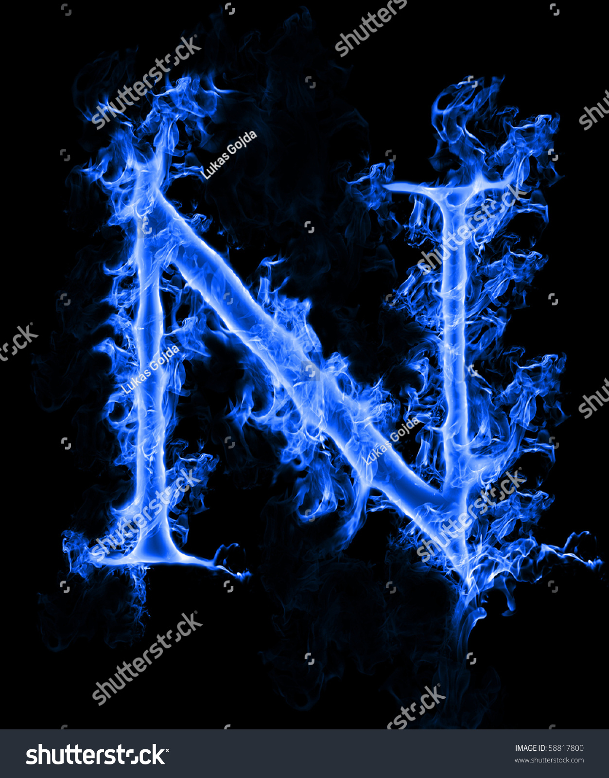 Blue Smoke Letter N Stock Photo 58817800 - Shutterstock