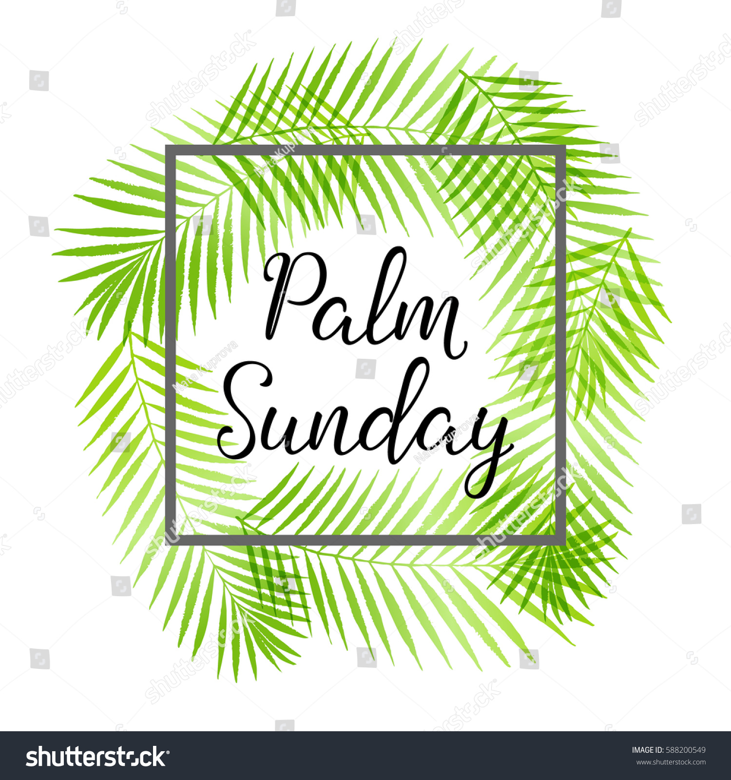 palm sunday holiday card poster palm stock vector 588200549