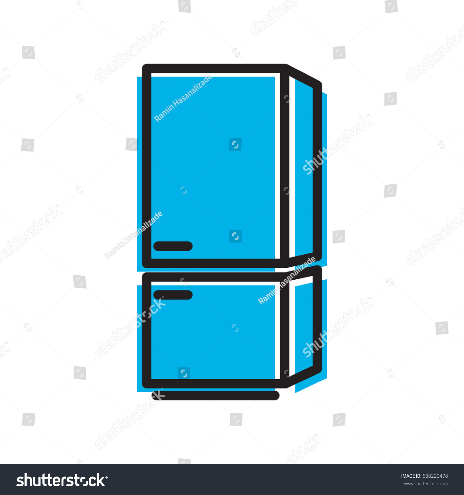 Refrigerator Icon Simple Kitchen Cooking Illustration Stock Vector ...