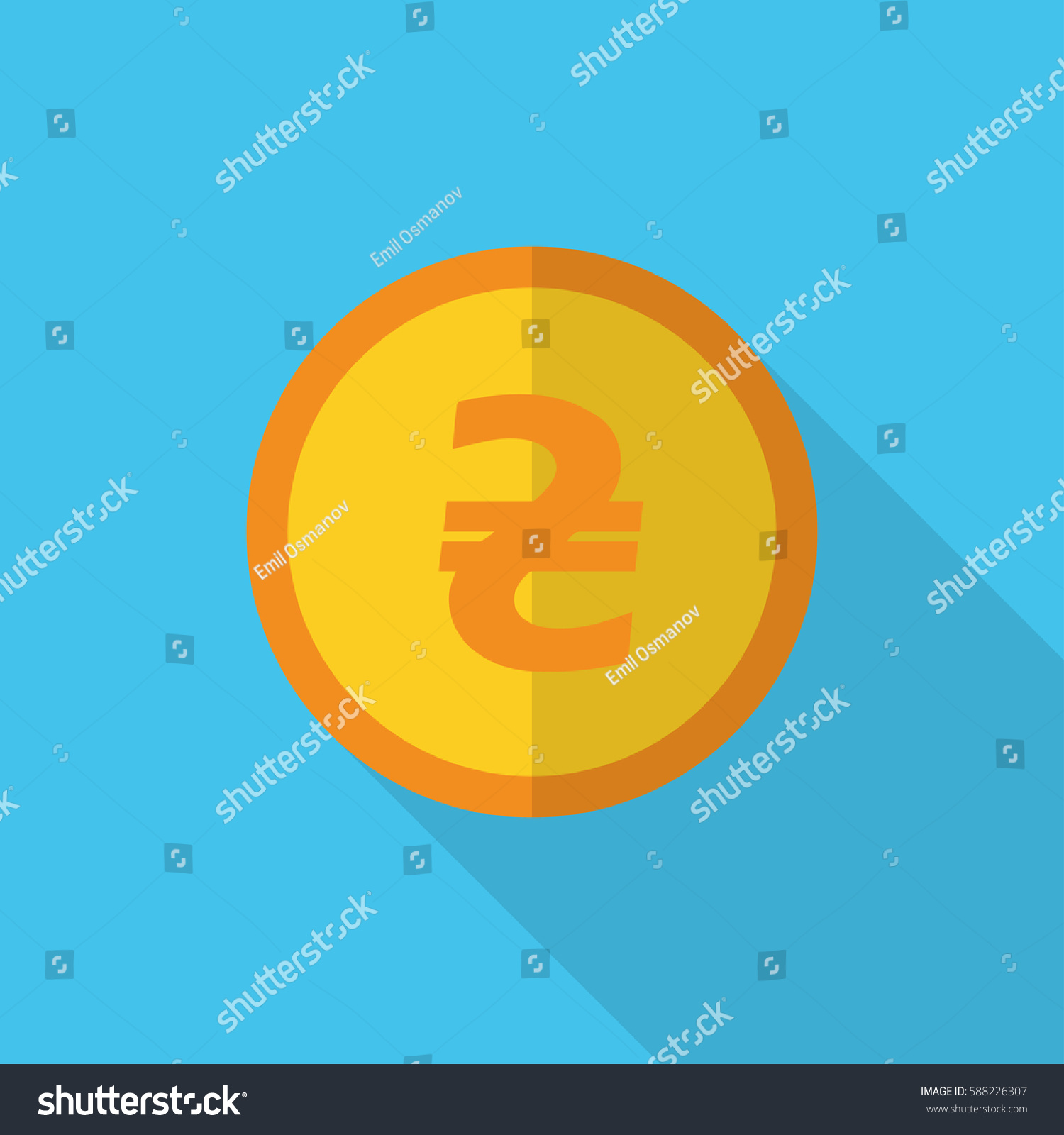Currency Symbol On Gold Coin Ukraine Stock Vector Royalty Free
