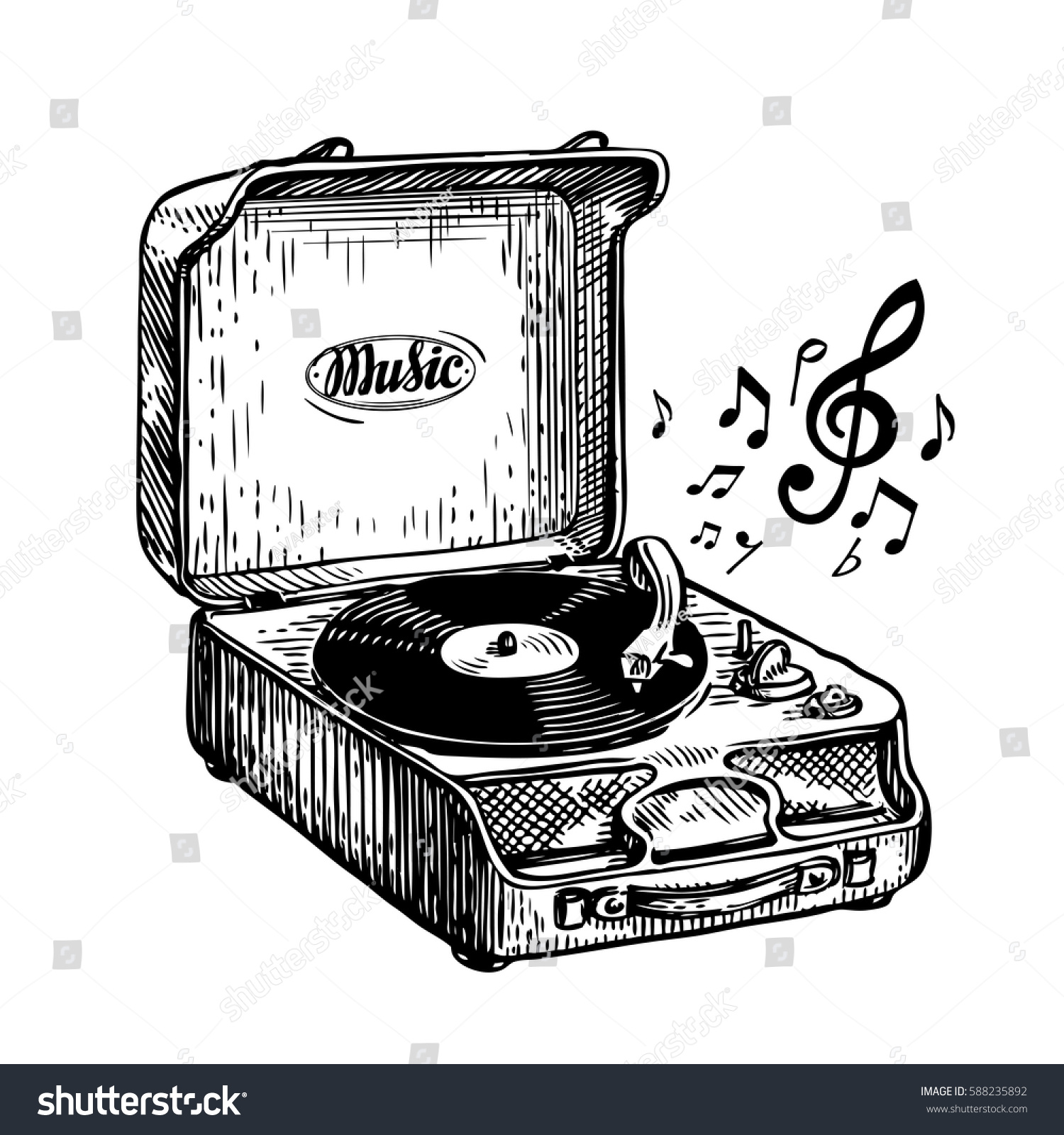 Vintage Turntable Record Player Vinyl Record Stock Vector
