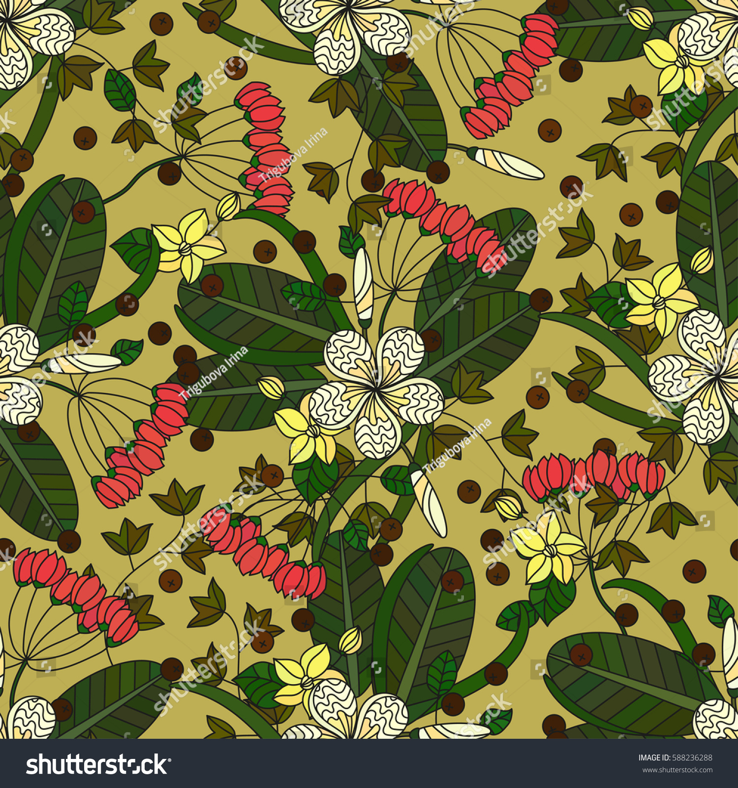 Vector Seamless Pattern With Tropical Plumeria Flowers Ivy Seeds