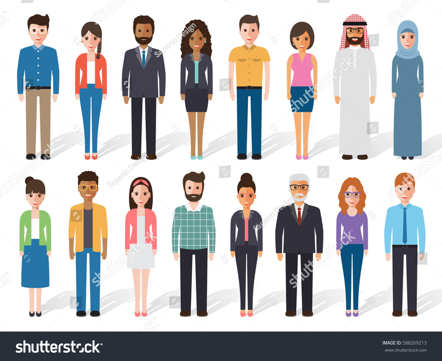 Group of working people diversity, diverse business men and business women  standing on white background
