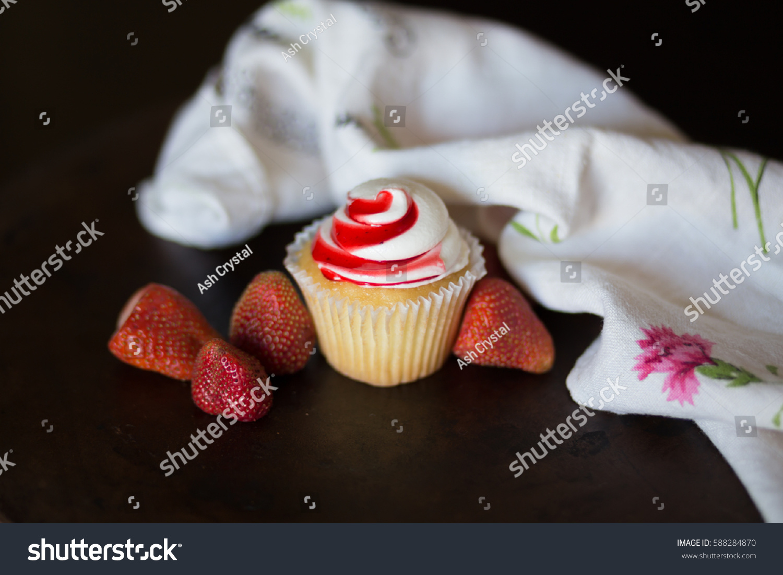Vanilla Cupcake Strawberry Glaze Stock Photo 588284870 ...