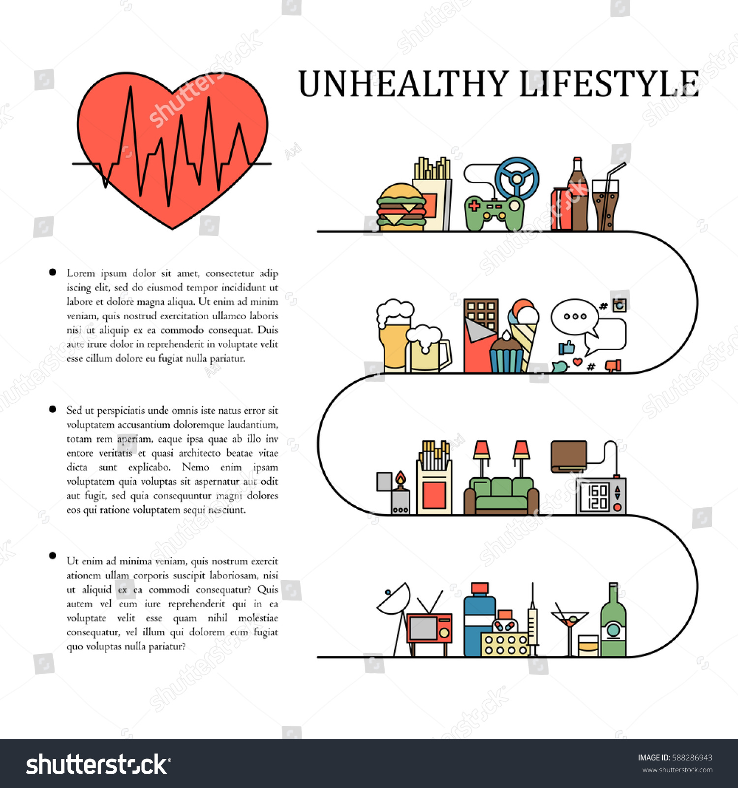 Healthy And Unhealthy Lifestyle Concept. Stock Vector ... |Unhealthy Lifestyle Icon