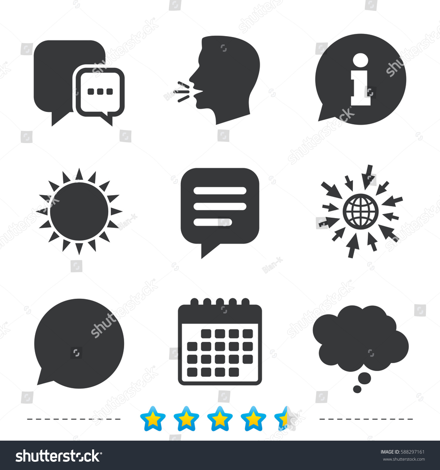 Chat Icons Comic Speech Bubble Signs Stock Vector 588297161