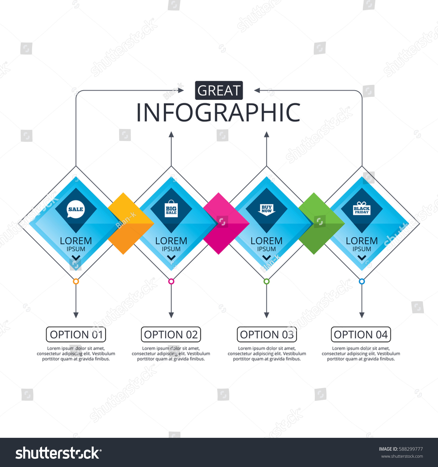 Infographic flowchart template business diagram options stock vector infographic flowchart template business diagram with options sale speech bubble icons buy now flashek Image collections
