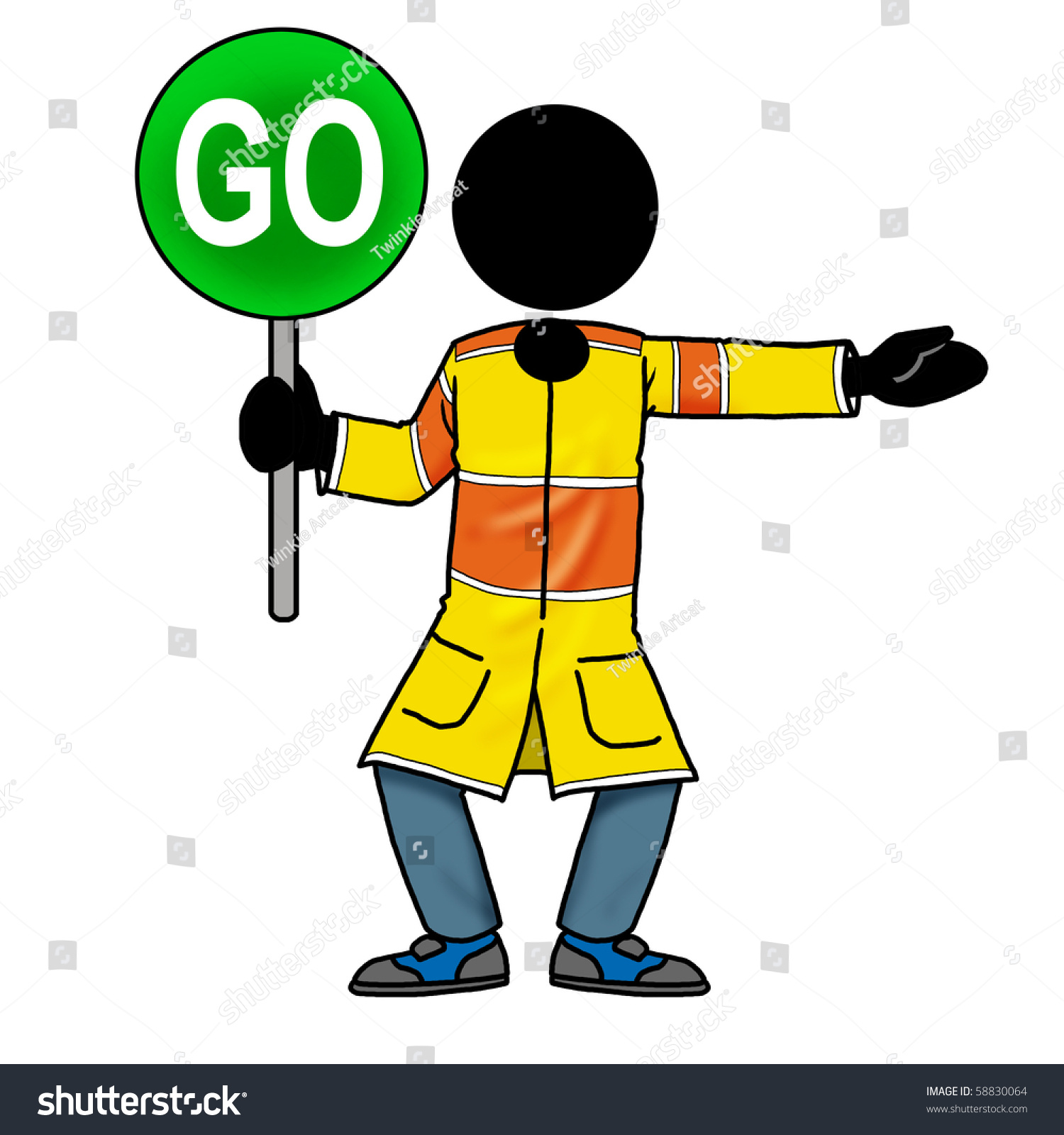 cartoon action icon of a silhouette man holding a go sign