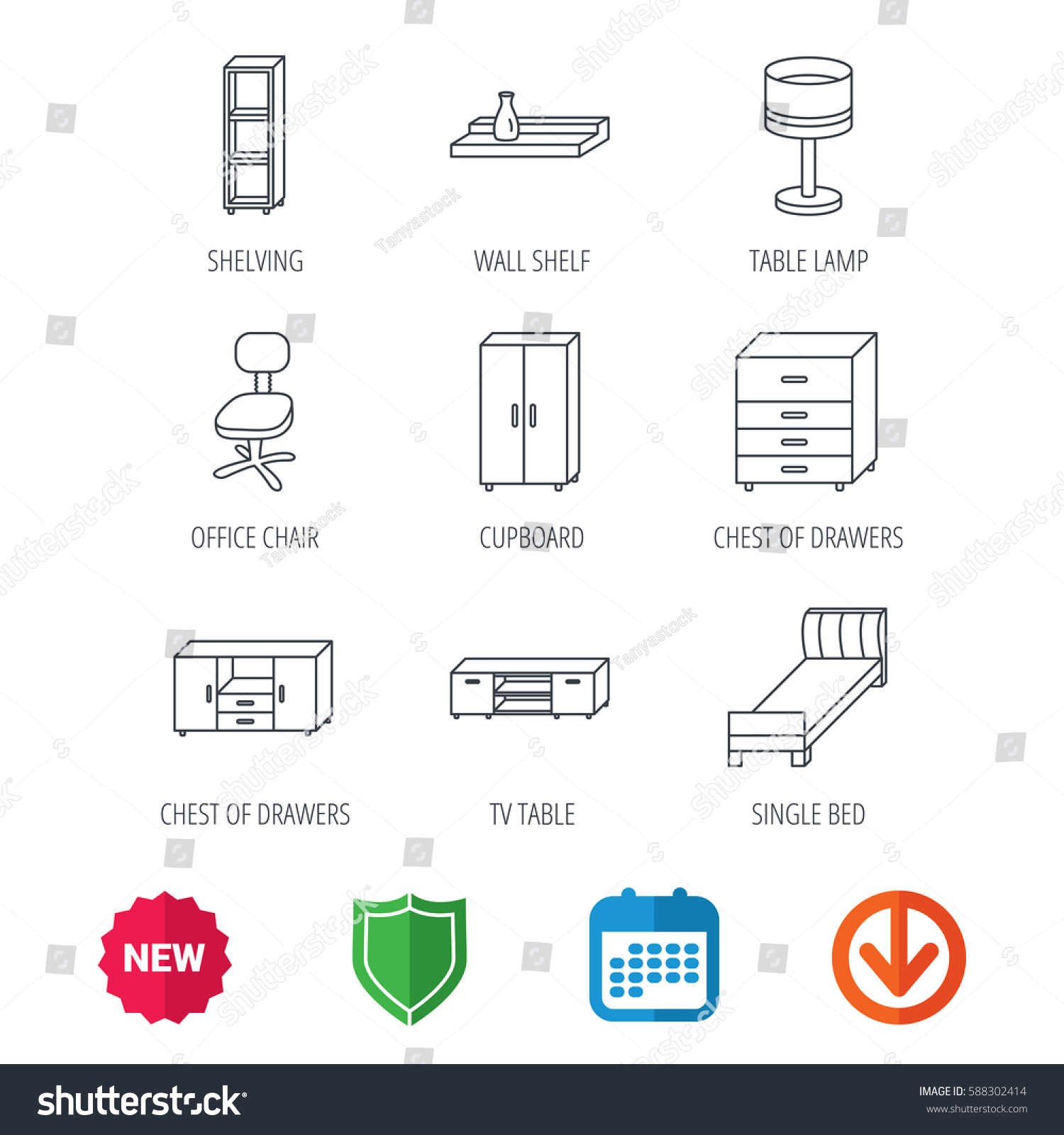 Single bed tv table shelving icons stock vector 588302414 single bed tv table and shelving icons office chair table lamp and cupboard geotapseo Gallery