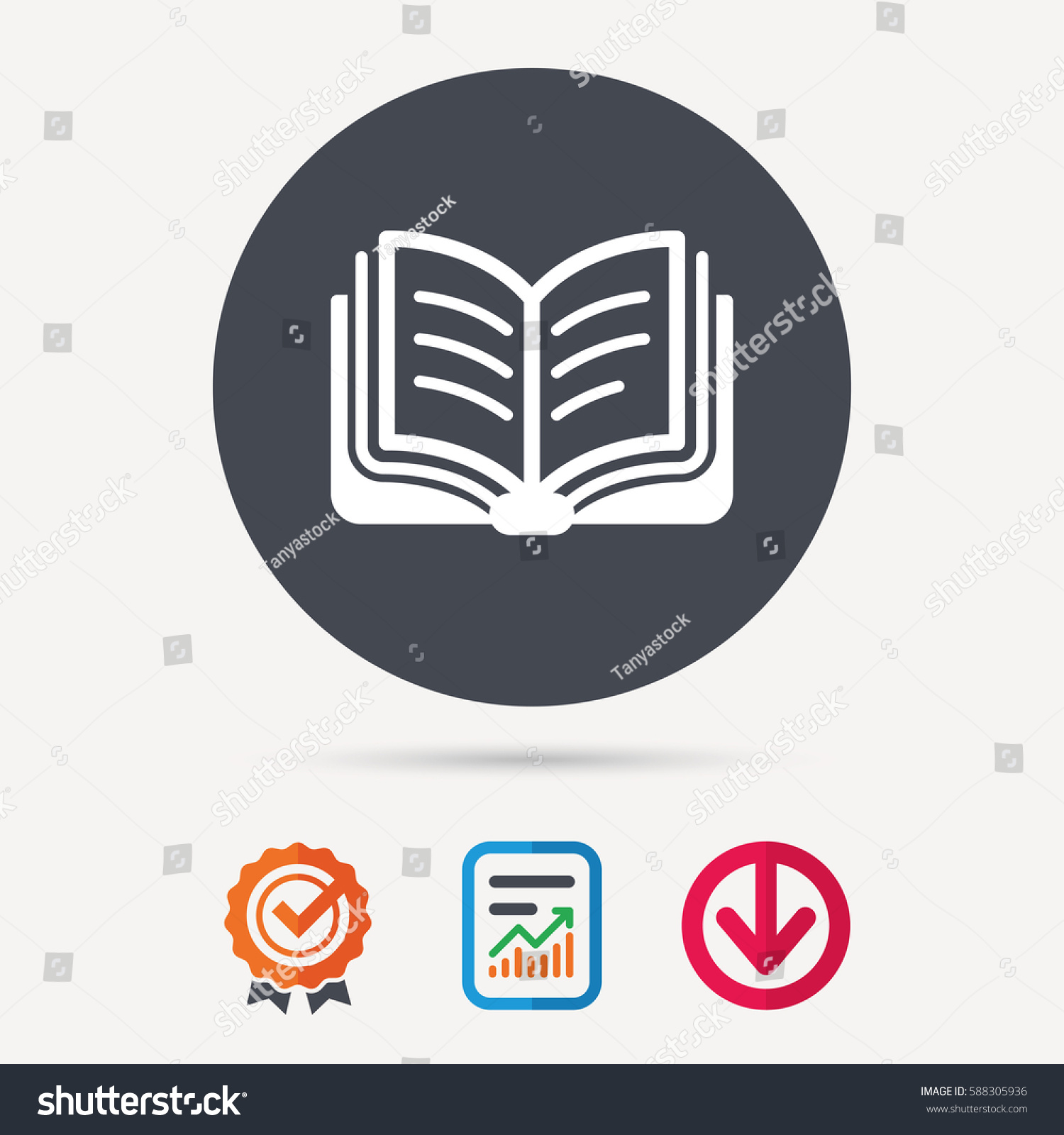 book icon study literature sign education stock vector  study literature sign education textbook symbol report document award medal