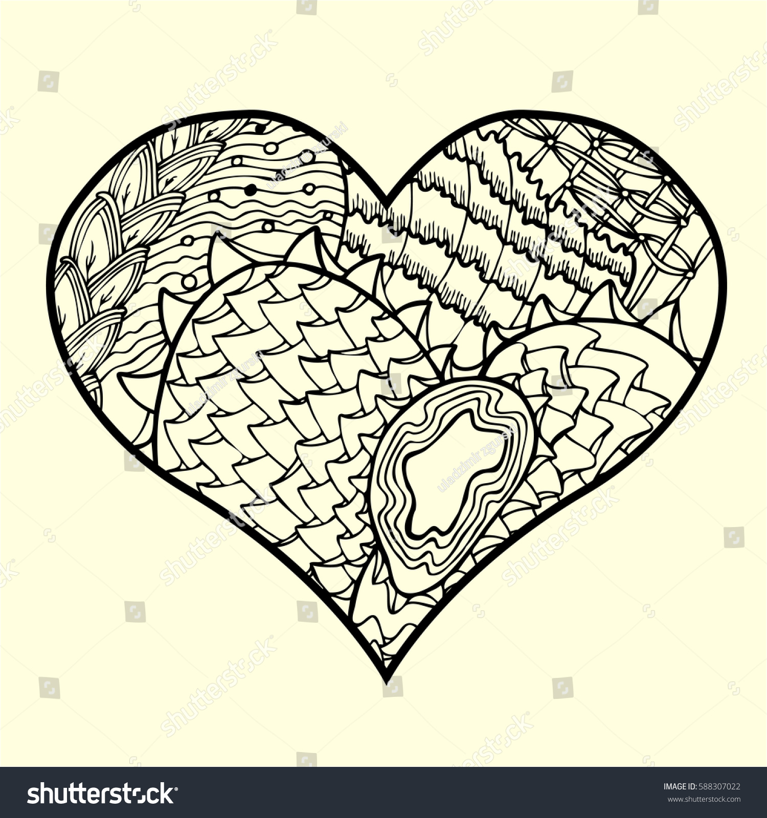 Zentangle Heart Abstract Floral Pattern Inside Stock Vector (Royalty ...