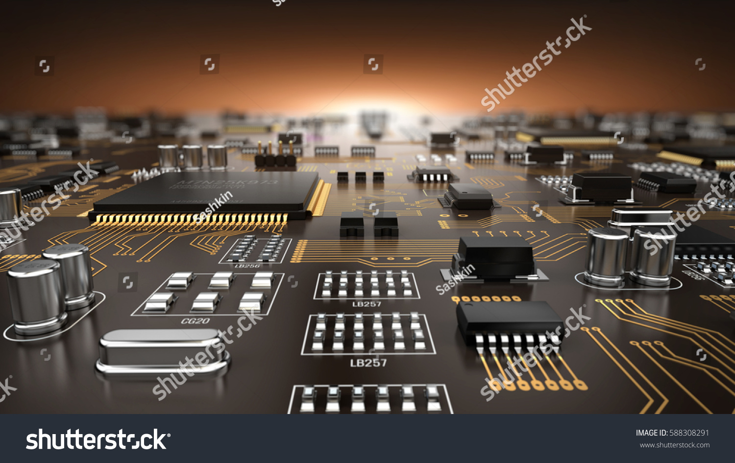 High Tech Electronic Pcb Printed Circuit Stock Illustration The Printedcircuitboard 3d Royalty Free Photography Board With Processor And Microchips
