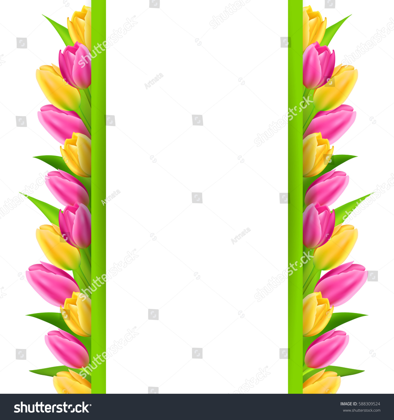 paper banner colorful tulips 8 march stock vector 588309524