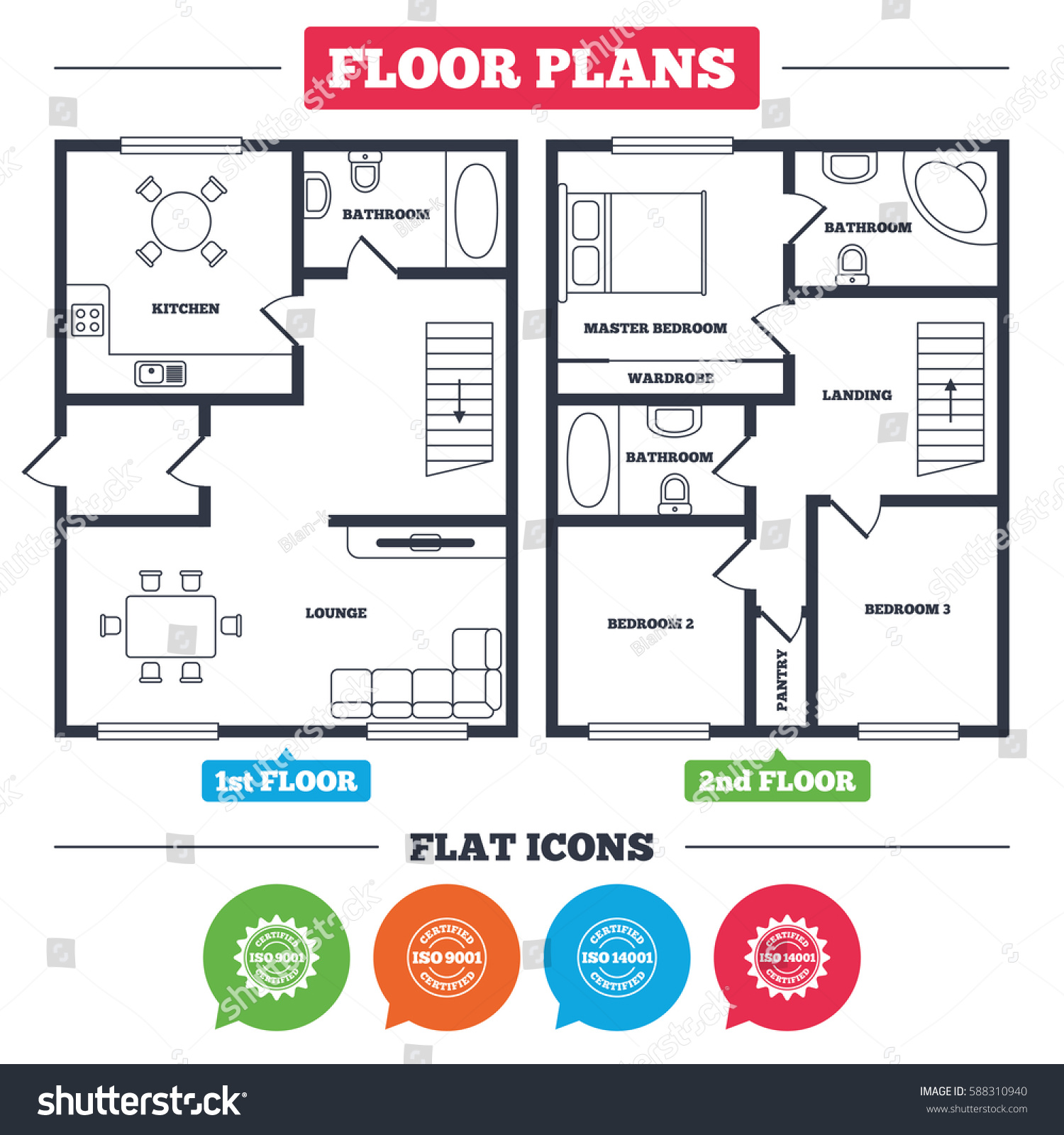 Architecture plan furniture house floor plan stock vector architecture plan with furniture house floor plan iso 9001 and 14001 certified icons buycottarizona