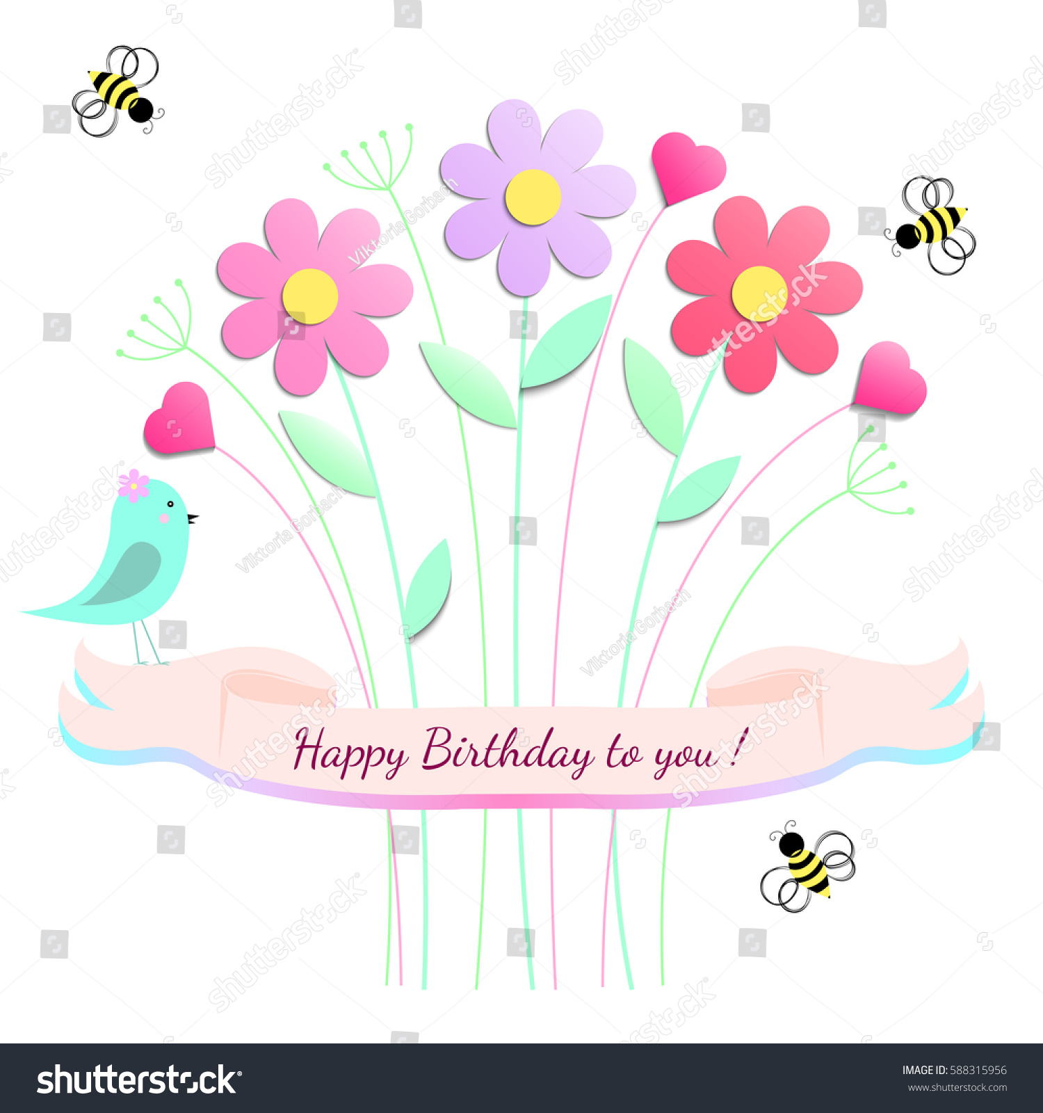 Happy Birthday Greeting Card Design Flowers Stock Vector Royalty