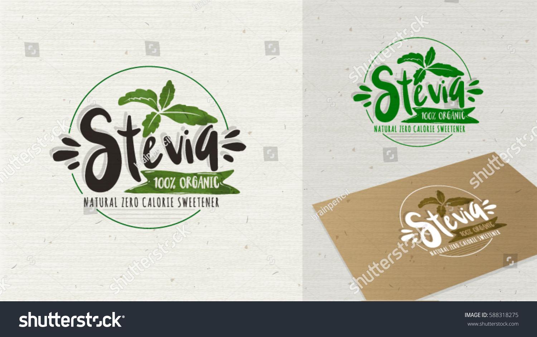 Stevia Organic Food Label Label Vector Stock Vector
