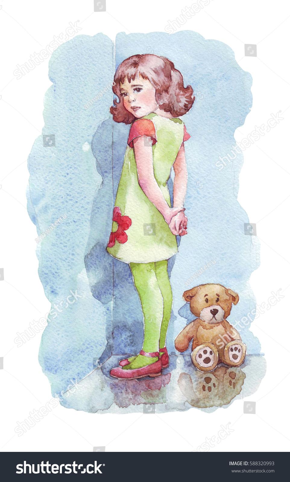 Girl Standing Corner Watercolor Illustration Stock