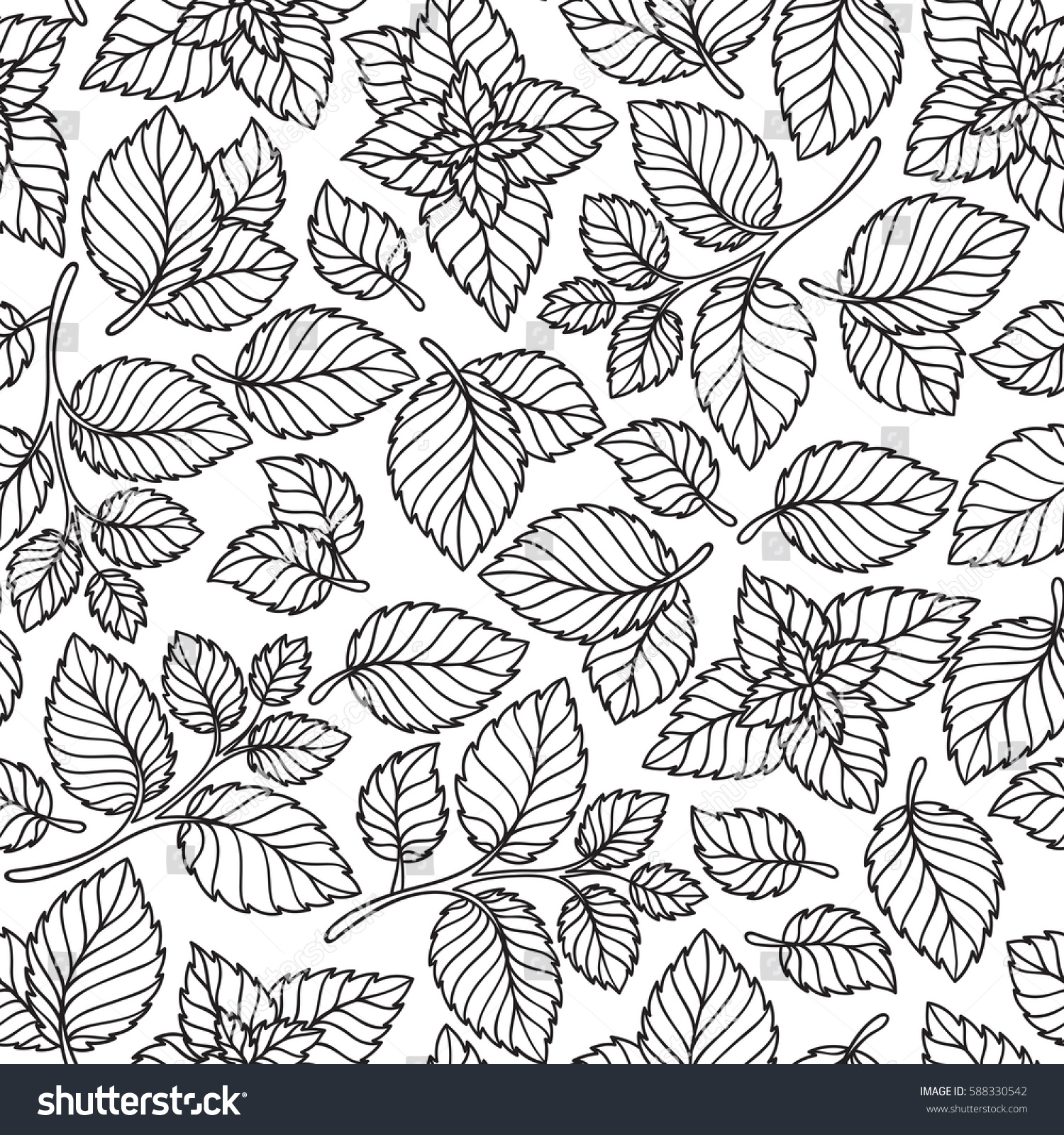 Vector Seamless Pattern Mint Leaves