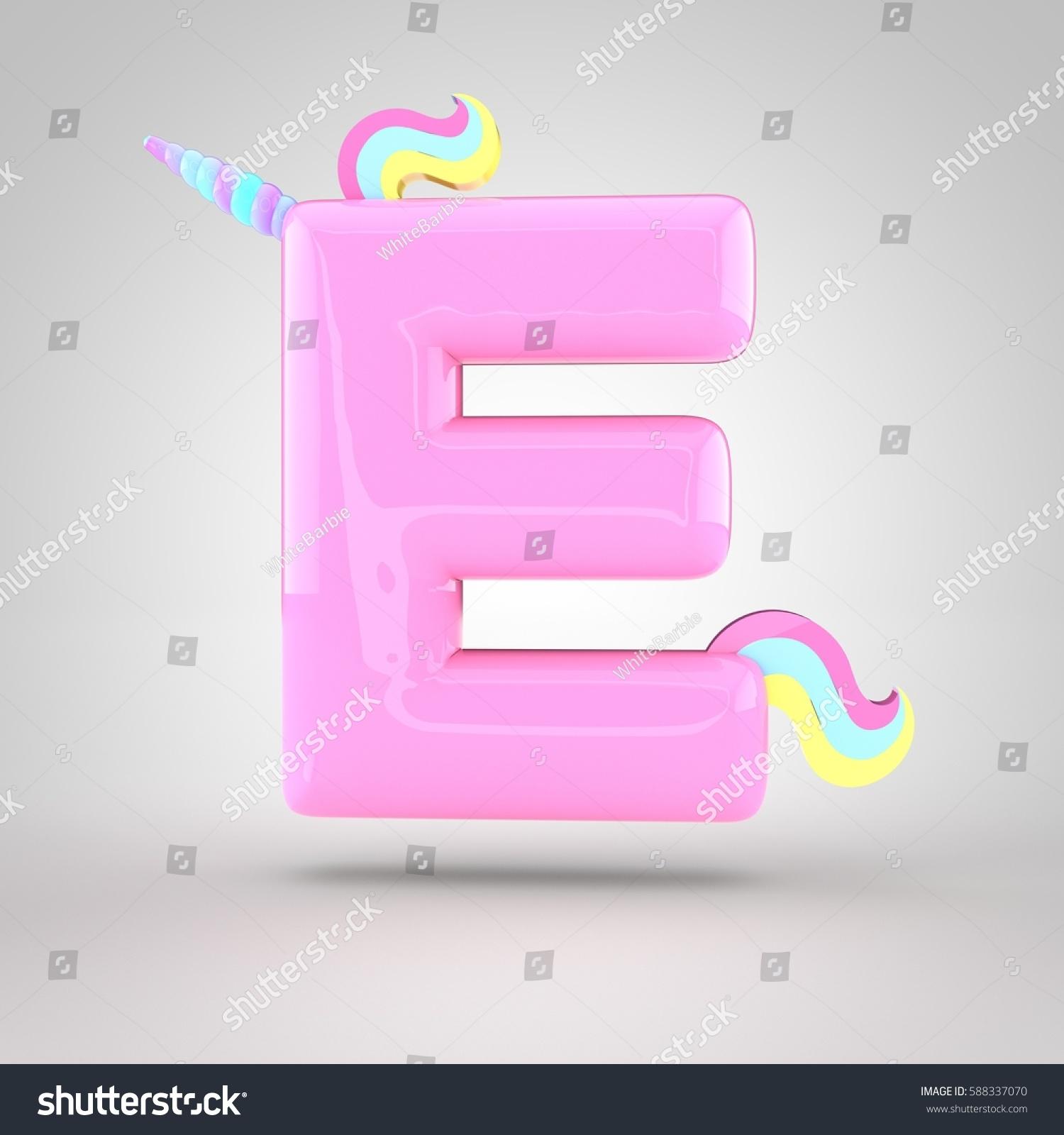 Cute Unicorn Pink Letter E Uppercase Stock Illustration 588337070 ...